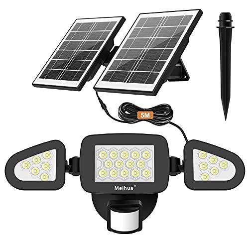 MEIHUA Solar Strahler mit Bewegungsmelder, Solarlampen für Außen IP66 Wasserdicht 270° Dreiseitige Beleuchtung 4000mAh Led Solarleuchten für Garagen Terrassen Gärten Innenhöfe