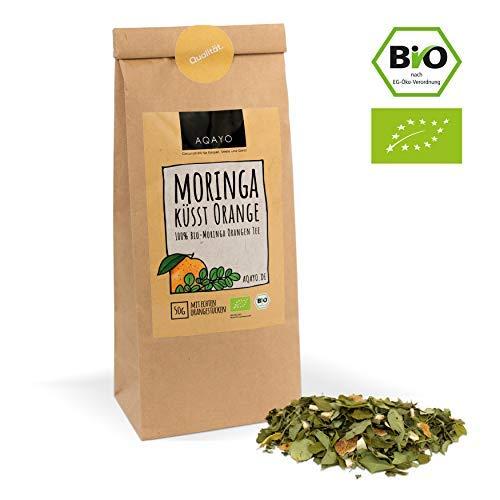 AQAYO Moringa küsst Orange   100{8550aa86ade971ae6ecc50cc39ee403a6a9d78b0047cd28a9f77048f33c3a101} Bio-Moringa Orange Tee   Getrocknete Moringablätter mit echten Orangenstücken (50g Teemischung)