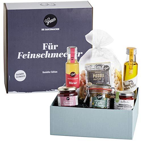Gepp's Feinschmecker Geschenkset | Auswahl feinster Delikatessen wie Trüffelöl und Erdbeer-Champagner Aufstrich, hergestellt nach eigener Rezeptur | Köstliche Geschenkidee zu jedem Anlass