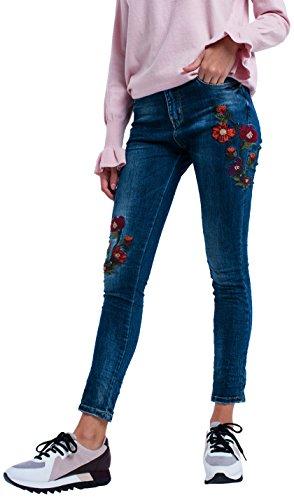 Q2 Vaquero Skinny con Flores, Azul (Blue), 38 (Tamaño...