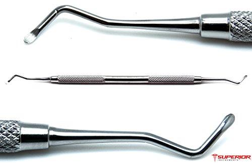 Dental 18W Excavators Spoons 1.5mm Double Ended Restorative Oral Steel Instruments