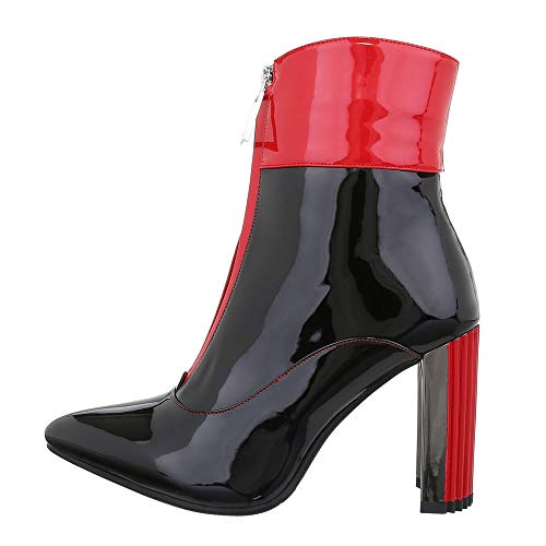 Ital-Design Damenschuhe Stiefeletten High Heel Stiefeletten Synthetik Schwarz Rot Gr. 38