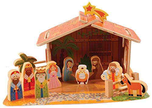 The Healing Corner Children Christmas Nativity Set Xmas Scene 13 figures 6 cm Multicolour Christmas Ornament Made in Italy