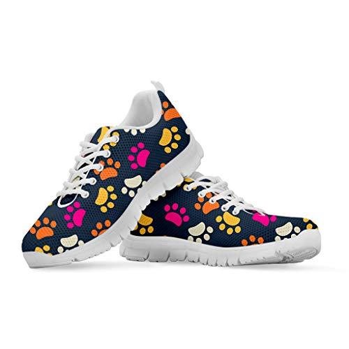 Woisttop Spezielles Design, bequem, atmungsaktiv, zum Laufen, Joggen, Schnüren, Sneakers für Damen, rutschfeste Gummischuhe, Fitnessstudio, Sport, Tennis, Schuhe, - Footprint - Größe: 43 EU