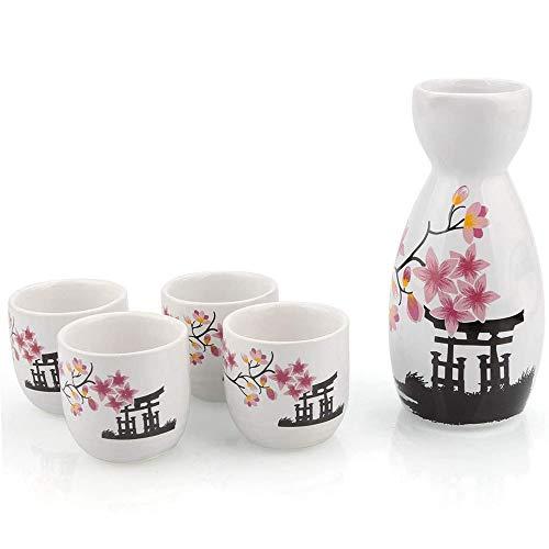 JNN 5-teiliges Sake-Set, japanische Cold-Sake-Gläser mit 1 Sake-Karaffenflasche und 4 Saki-Tassen, für kalt-warmen Shochu-Tee mit heißem Sake, Geburtstagsgeschenk zum Vatertag