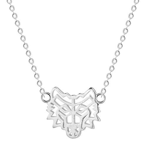 Chandler Collar de plata de ley 925 con diseño de lobo con colgante de tótem de lobo para hombre, joyería nativa americana