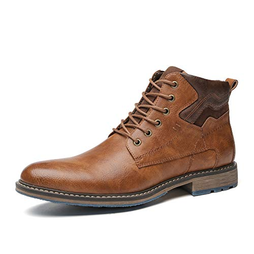 Mens Casual Oxford Chukka Boots Brown Fashion Dress Work Boot for Men