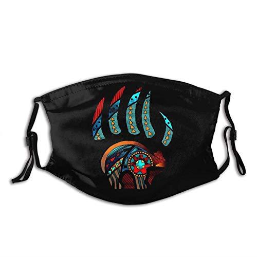 Gesichtsmaske mit Indianeraufdruck, verstellbare Ohrschlaufen mit Filtertasche, Unisex Sturmhaube