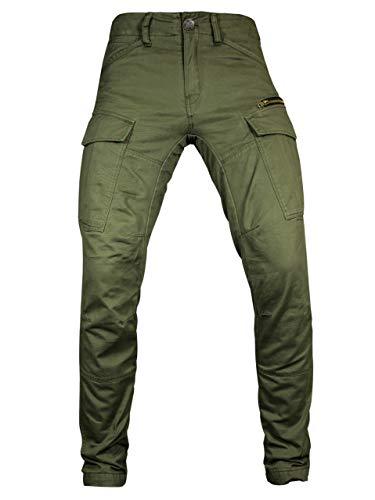 John Doe Stroker Cargo XTM - Olive | Motorradhose mit Kevlar | XTM Made with Dupont Kevlar | Einsetzbare Protektoren | Atmungsaktiv | Motorrad Cargo Hose | Hose mit Seitentaschen