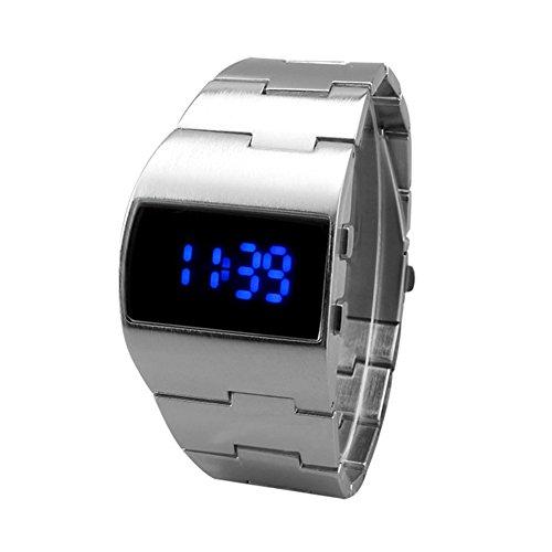 Dxlta Armbanduhr für Männer Herren Edelstahl LED-Uhr Digital-Uhren Geschäft Armbanduhren Uhr Military Wasserdicht (Silber)