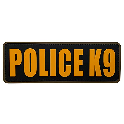 uuKen Gold Yellow Police K9 Patch 8.5x3 inches PVC Patch for Training Tactical Vest Uniform Bags Backpacks Plate Carrier (Black and Yellow, L8.5'x3')