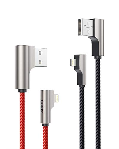 AUKEY Cavo Lightning (2m - 2 Pezzi) Nylon & Connettore Metallico [Apple MFi Certificato] Ideale per Giocare i Giochi Cavo iPhone per iPhone 12 / iPhone X / 8/8 Plus, iPad e d'Altri Dispositivi Apple