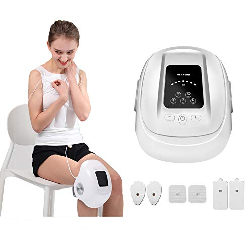 HEZHENG Cordless Compression Knee Massager with Heat and Kneading, Knee Brace Wrap with Air Bags Vibration Circulation Device with Pulse Pads for Pain Relief Therapy