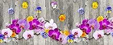 Homelife Alfombra Vinílica de Cocina Lavable y Antideslizante Alfombra Rectangular de PVC Antimanchas, Interior y Exterior   Alfombra Pasillera con Orquídeas Estampadas (52x100 cm)