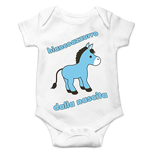Body Napoli weiß hellblau ab der Geburt, Baby Mädchen Inter Geburt Kurzarm, Weiß 3-6 Monate