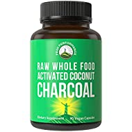 Activated Charcoal Vegan Capsules from Wild Harvested Organic Coconut Shells. Best Safe Charcoal Pills Supplement for Detox, Gas Relief, Bloating. for Men and Women 90 All Natural Tablets
