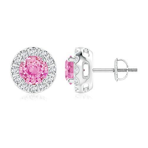 Negro viernes–Set de barra redonda Diamond Halo rosa Sapphire Stud Pendientes para las mujeres