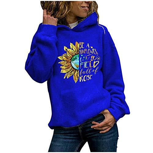 Dicomi Frauen Sweatshirt Casual Sweater Mantel Hoodies Pullover Damen Sonnenblumenmuster Sweatshirt Bluse T-Shirt T-Shirts Tops