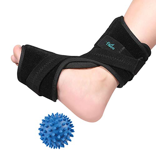 Plantar Fasciitis Night Splint Foot Drop Orthotic Supports Kit, Adjustable Dorsal Night Splint Support Sleep, Recovery, Tendonitis, Arthritis with Hard Spiky Massage Ball for Women and Men