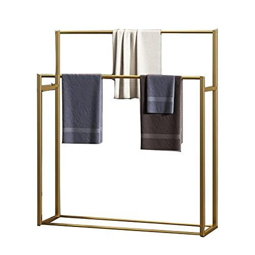 Toallero de pie para baño, soporte para toallas al aire libre, 2 niveles, soporte para toallas de piscina, soporte para exteriores, resistente al óxido, fácil de montar, color dorado, 70x22x100 cm