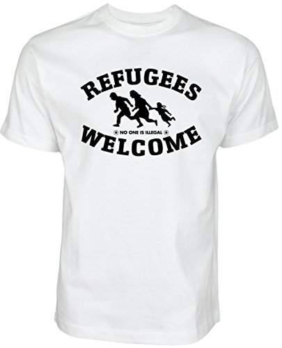 Refugees Welcome T Shirt Weiß mit schwarzer Aufschrift - Nobody is illegal Gegen Nazis gegen AFD Pro Asyl gegen Pegida Politik Shirt (M, Weiß)