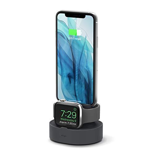 elago Stand 2 in 1 Dock Station Caricatore per AirPods 1/2, Apple Watch SE/Serie 6/5/4/3/2/1,iPhone SE 2020, iPhone 11/XS/X Max/XR/8/8Plus Supporto Ricarica (Cavi certificati Necessari)(Grigio Scuro)
