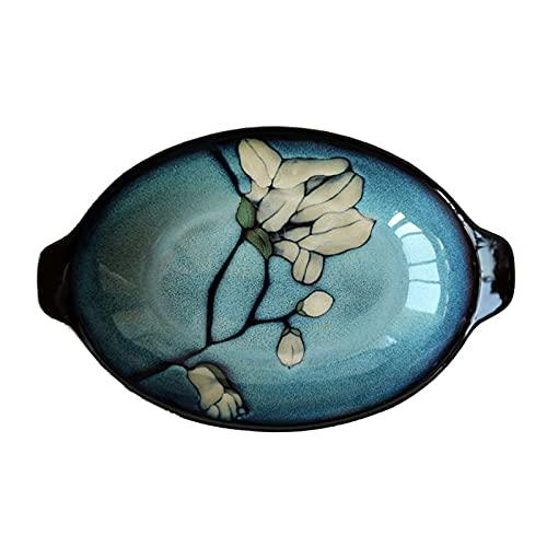 Plato Placa de porción binaural, Placa de Ensalada, Placa de Postre, Placa de Pescado de cerámica, Placa Grande, tazón de Masa, Placa de Sushi esmaltada (Color : Green, Size : 29.5 * 19.2 * 5.5cm)