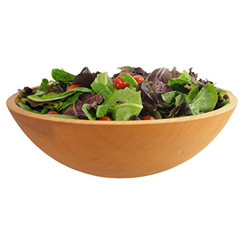 #1 Quality Solid Sugar Maple Wooden Bowl, Hand Turned Salad Bowl, 17 x 6 Inches, Serves 8-12