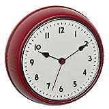 TFA Dostmann 60.3541.05 - Reloj de Pared analógico por Radio, diseño Retro, con segundero, Metal, Color Rojo, 240 x 68 x 240 mm
