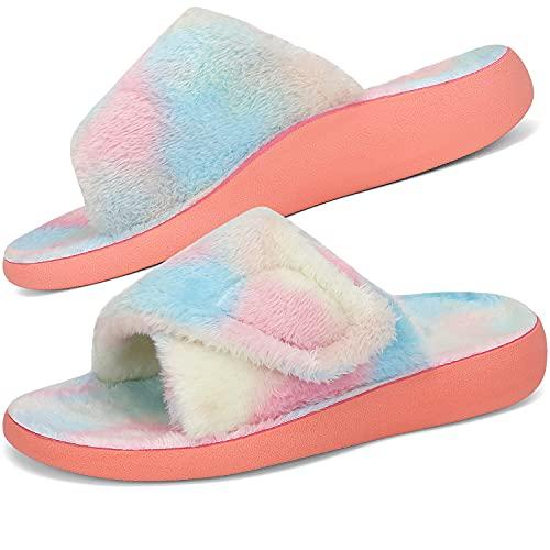 Dannto Zapatillas de Estar por Casa para Mujer Espuma de Memoria con Soporte del Arco Gancho Punta Abierta Zapatos de Casa Interior Exterior Interior Zapatillas Invierno Al Aire Libre (Vistoso,40)