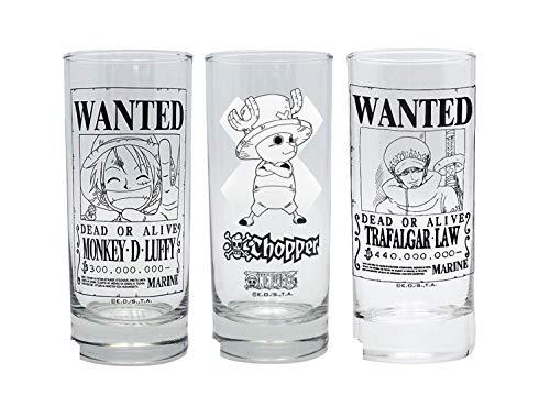 One Piece - glazen set van 3 - Wanted - Luffy Ruffy - Tony Chopper - Trafalgar