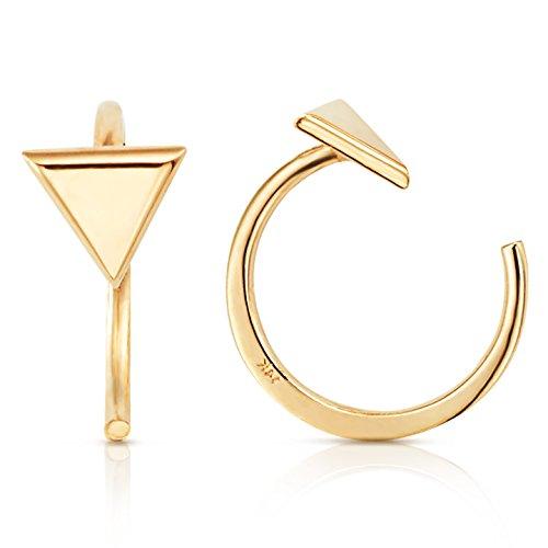 Simple Mini Triangle Slip On Huggie Cuff Earrings In Solid 14K Yellow Gold- Hoops Cuff Earring Fine Authentic Earrings For Women, Girls Teen (6mm)