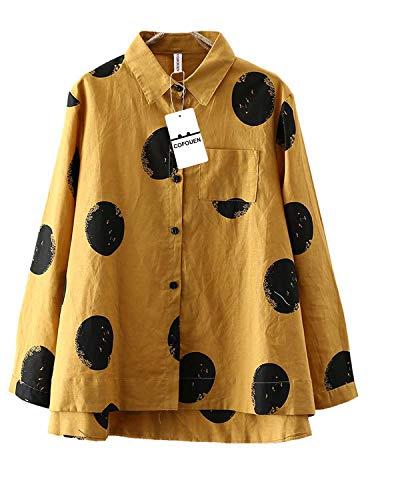 Cofouen Women's Casual Cotton Linen Button Down Shirt Loose A-line Hem Tops Blouses Tunic with Pocket Pink L