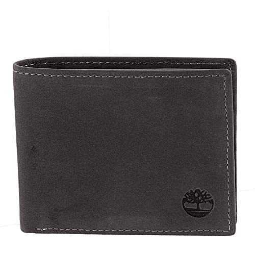 Price comparison product image Timberland Men's Leather Wallet with Attached Flip Pocket,  Black Hunter,  One Size