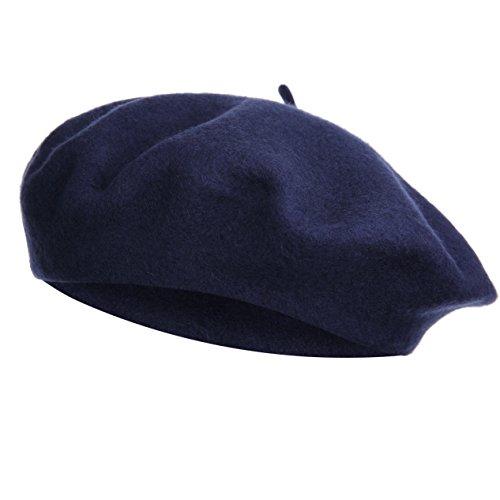 Vglook Klassische Wollmütze im französischen Stil Gr. Einheitsgröße, navy