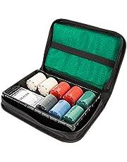 Global Gizmos 45409 Texas Hold'em Travel Pokerset | Chips/kort/spelmatta | bärväska | Game Night