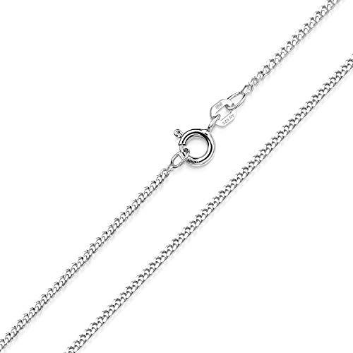 Halskette Damen Silber 925 ohne Anhänger - Panzerkette 1,7mm flach K122-45cm