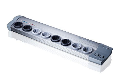 Oehlbach Powersocket 907 - Hochwertige Steckdosenleiste aus Alu - Überspannungsschutz, USB-Ladefunktion - Mantelstrom- und Netzfilter - grau