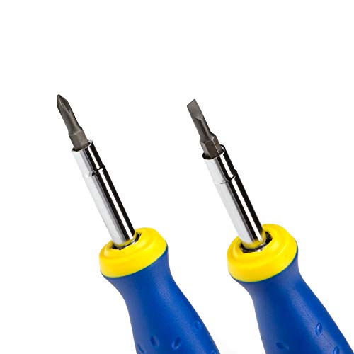 Estwing 6-in-1 Multipurpose Phillips, Slotted, and Hex Screwdriver, Steel Shaft, Comfortable Grip, PH1, PH2, 3/16-inch and 1/4-inch Slotted, 1/4-inch and 5/16-inch Hex