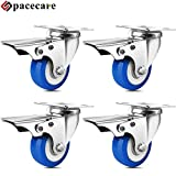 SPACECARE 2 Inches Swivel Casters Heavy Duty Casters, Lockable Brake Bearing Caster Wheels for Furniture and Workbench, Set of 4, Capacity 800 Lbs