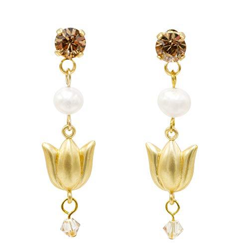 Feliss Pendientes colgantes para mujer de 40 mm, con perla de agua dulce auténtica + colgante de tulipán y cristal dorado, regalo para mujeres
