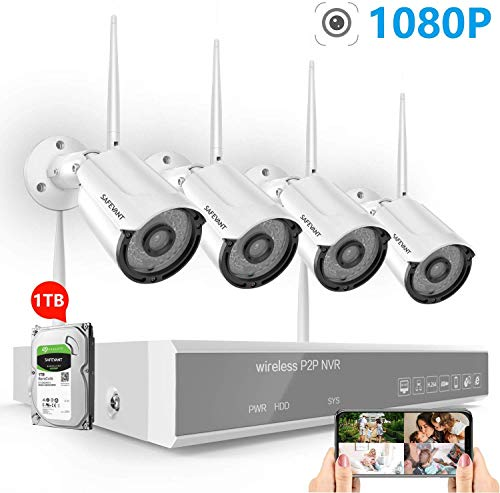 [2020 New] 1080P Full HD Security Camera System Wireless with 1TB Hard Drive,SAFEVANT 8 Channel NVR Systems 4PCS 2MP Indoor Outdoor Home Surveillance Cameras with Night Vision Motion Detection