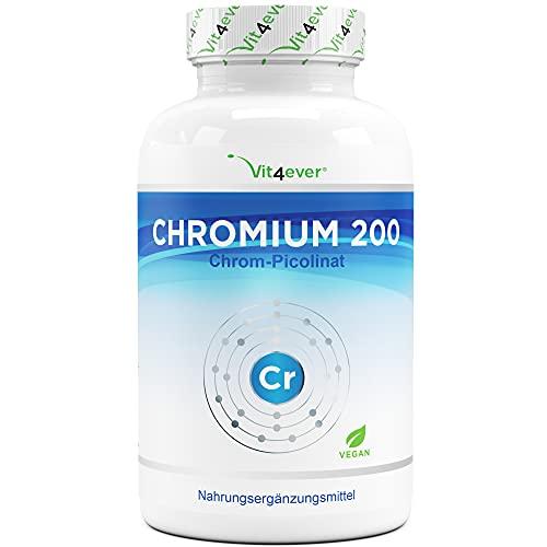 Chromium Picolinate - 200 mcg reines Chrom je Tablette - 365 Tabletten im Jahresvorrat - Laborgeprüft (Wirkstoffgehalt & Reinheit) - Ohne unerwünschte Zusätze - Hochdosiert - Vegan