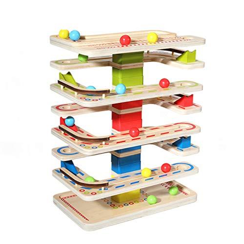 UEXCN Rampa de bola de madera pista de carrera de juguete deslizante de 4 capas de la torre de rodamiento para padres-hijo juego hacer diversión con los niños