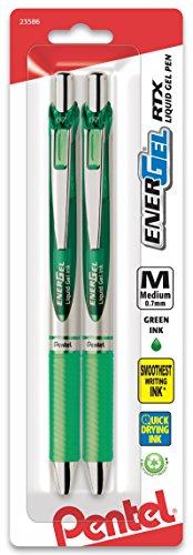 Pentel EnerGel Deluxe RTX Retractable Liquid Gel Pen, 0.7mm, Metal Tip, Green Ink, 2 Pack (BL77BP2D)