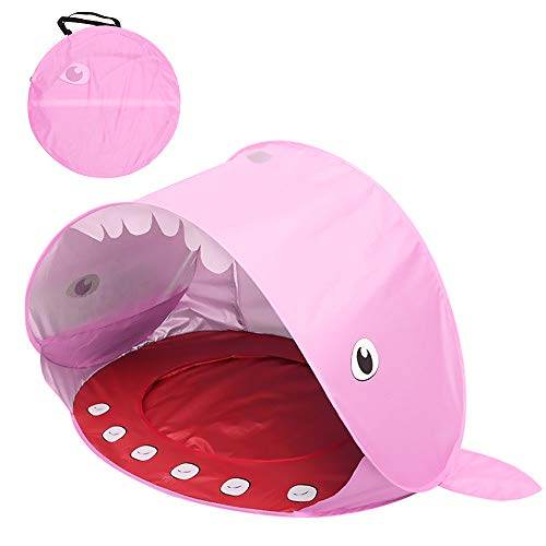 Flytise Outdoor Camping Tent Pop-up Fun-Play Tent Installation-free Shark Tent for Boys and Girls Baby Beach Tent Kids' Playground Tent Children Sunshade Beach UV-protecting Sunshelter with Pool for