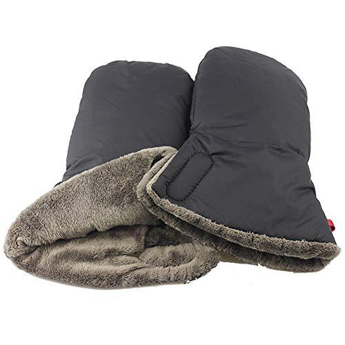 LTSWEET Handwärmer für Kinderwagen Verlängern Handschuhe Handmuff Universal Winter Warm Fleecefutter Outdoor Winddicht Wasserfest Handschuhe,Schwarz