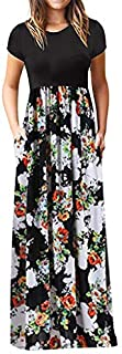 2019 Summer Dress for Women,Womens Fashion Casual Dresses Floral Printed Maxi Dress Short Sleeve Party Long Dress