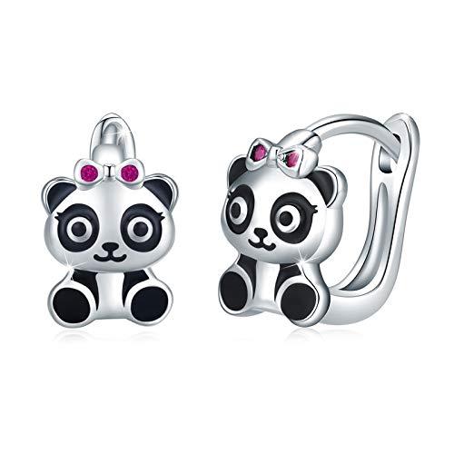 Pendientes de aro de plata de ley 925 con Panda, 10 mm de diámetro Pendientes Panda para Mujeres y...