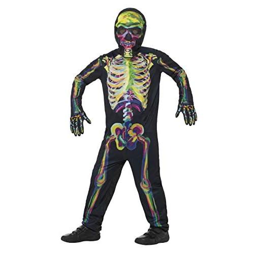 SMIFFYS Costume scheletro che si illumina al buio, Multicolore, con tuta, maschera e gua